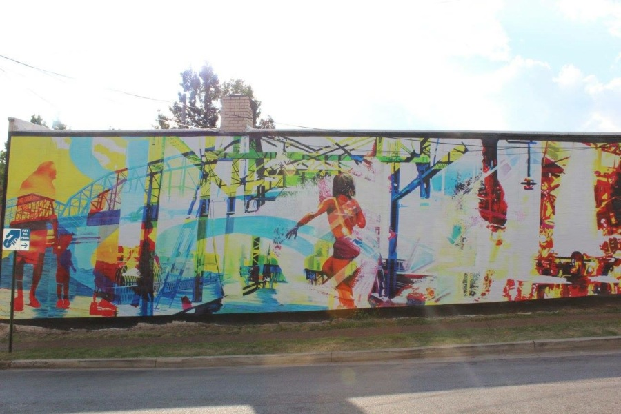 Mural of the Day: Let's Move! Fun & Colorful Mural on Frazier & Forest St.